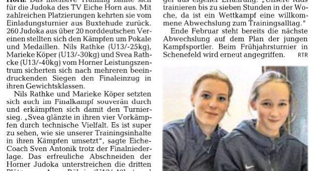 Judoka glänzen in Buxtehude ( Weser-Kurier 18.02.2016 )
