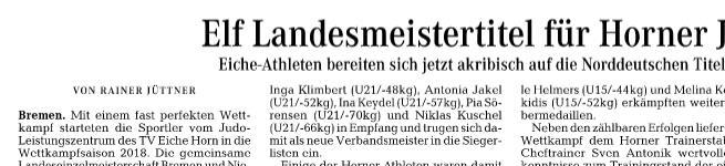 Elf Landesmeistertitel für Horner Judoka ( Weser-Kurier )
