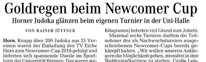 Goldregen beim Newcomer Cup ( Weser-Kurier )